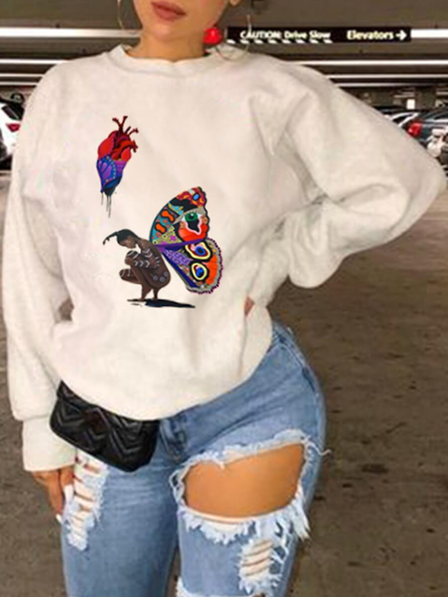 LW Lovely Casual O Neck Butterfly Print White Hoodie