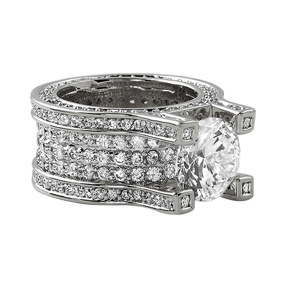 Baller Solitaire Eternity Rhodium Bling Iced Ring