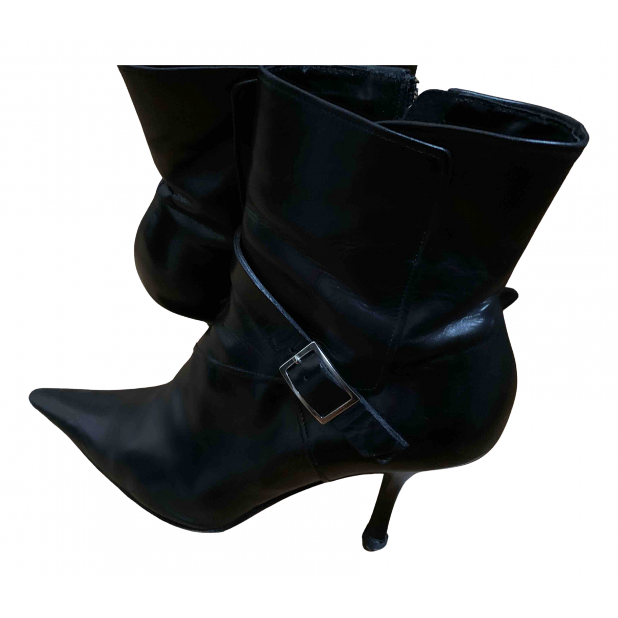 Michel Perry N Black Leather Ankle boots for Women 38 EU
