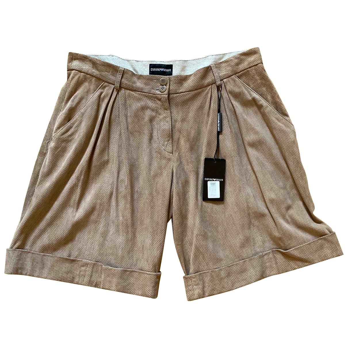 Emporio Armani \N Shorts in  Beige Veloursleder