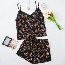 Schlafanzug Set mit Blumen Muster und Kontrast Spitze