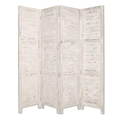 BM26671 Wooden 4 Panel Foldable Floor Screen with Textured Panels