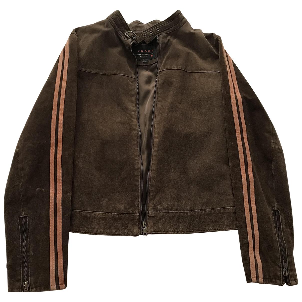 Prada \N Brown Suede Leather jacket for Women L International