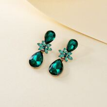Gemstone Water Drop Earrings