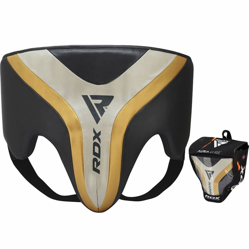 RDX T17 Small Pearl Grey / White / Golden Groin Protection Guard Abdo Shield for Boxing MMA Muay Thai Taekwondo Kickboxing BJJ Karate Fight and Traini