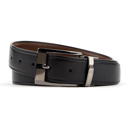 Van Heusen Reversible Stretch Belt With Feathered Edge, S (30-32) , Black