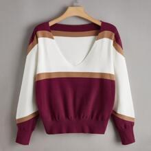 Pullover mit V Kragen und Farbblock