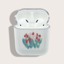Flower & Grass Print Clear Airpods Case