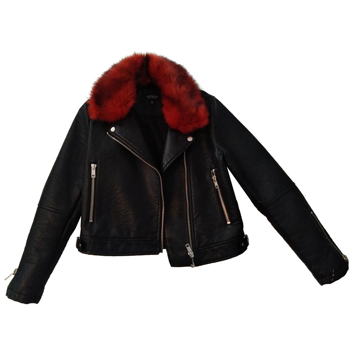 Topshop - Veste   pour femme en cuir - noir