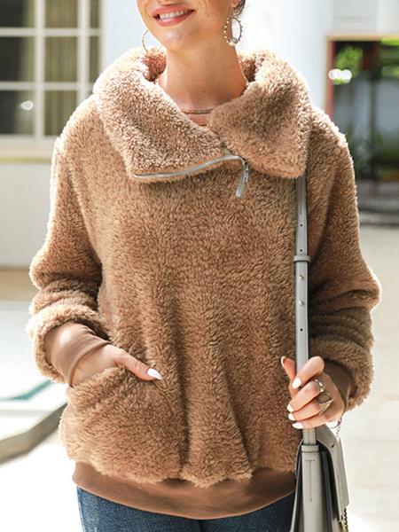Milanoo Hoodie For Women Long Sleeves High Collar Zipper Faux Fur Pink Winter Hoddie