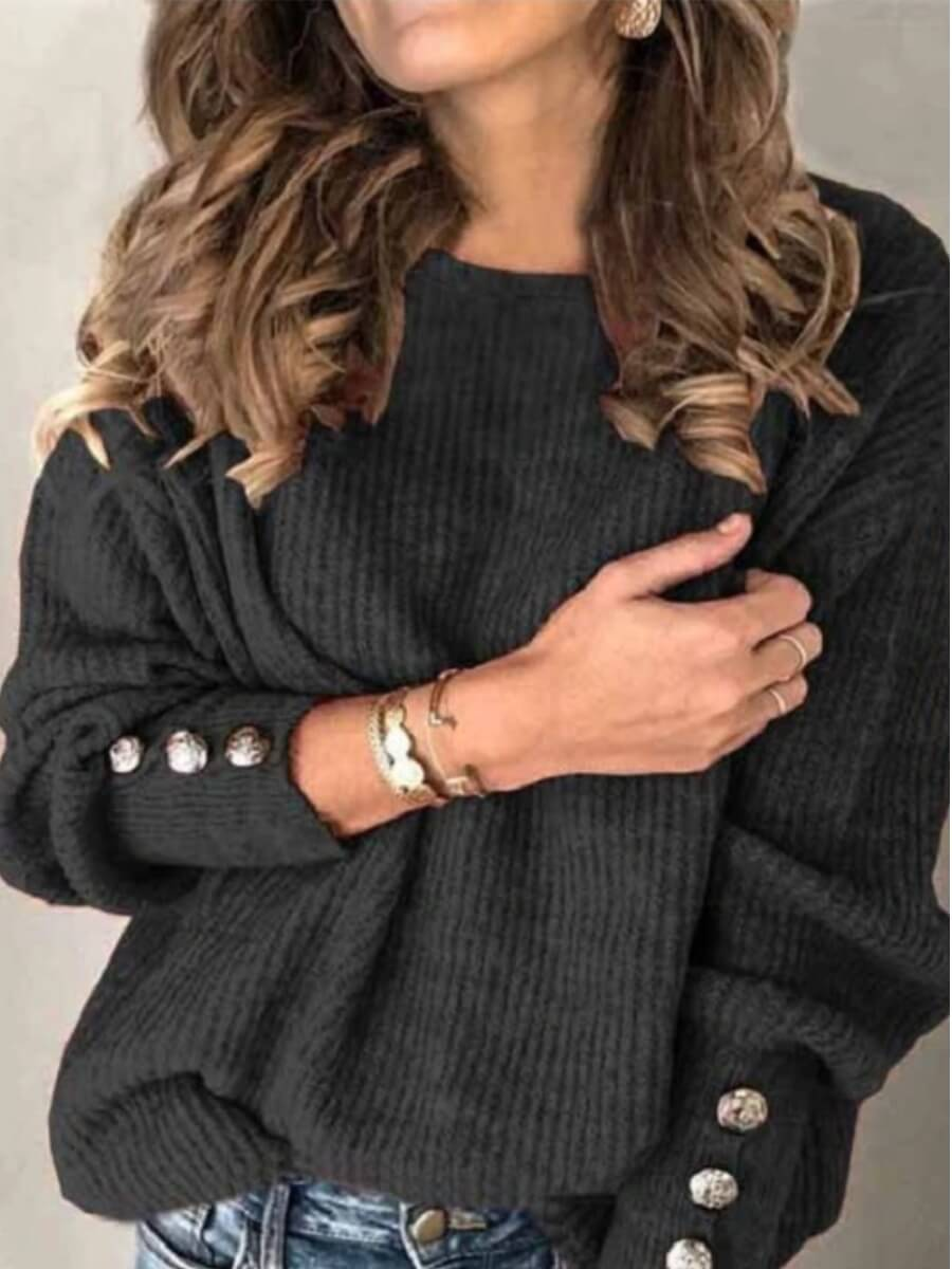 LW Lovely Casual O Neck Button Design Black Sweater