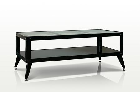 Maria Collection Coffee Table with Rectangular Shape  Tempered Glass Top  Open Shelf and Metal Frame in