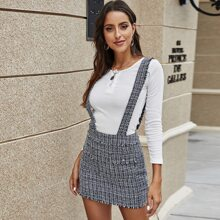 Frayed Edge Tweed Suspender Skirt
