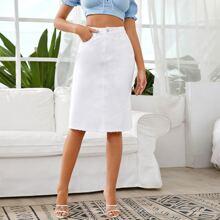 Raw Hem Midi Straight Leg Denim Skirt