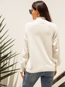Solid High Neck Drop Shoulder Sweater