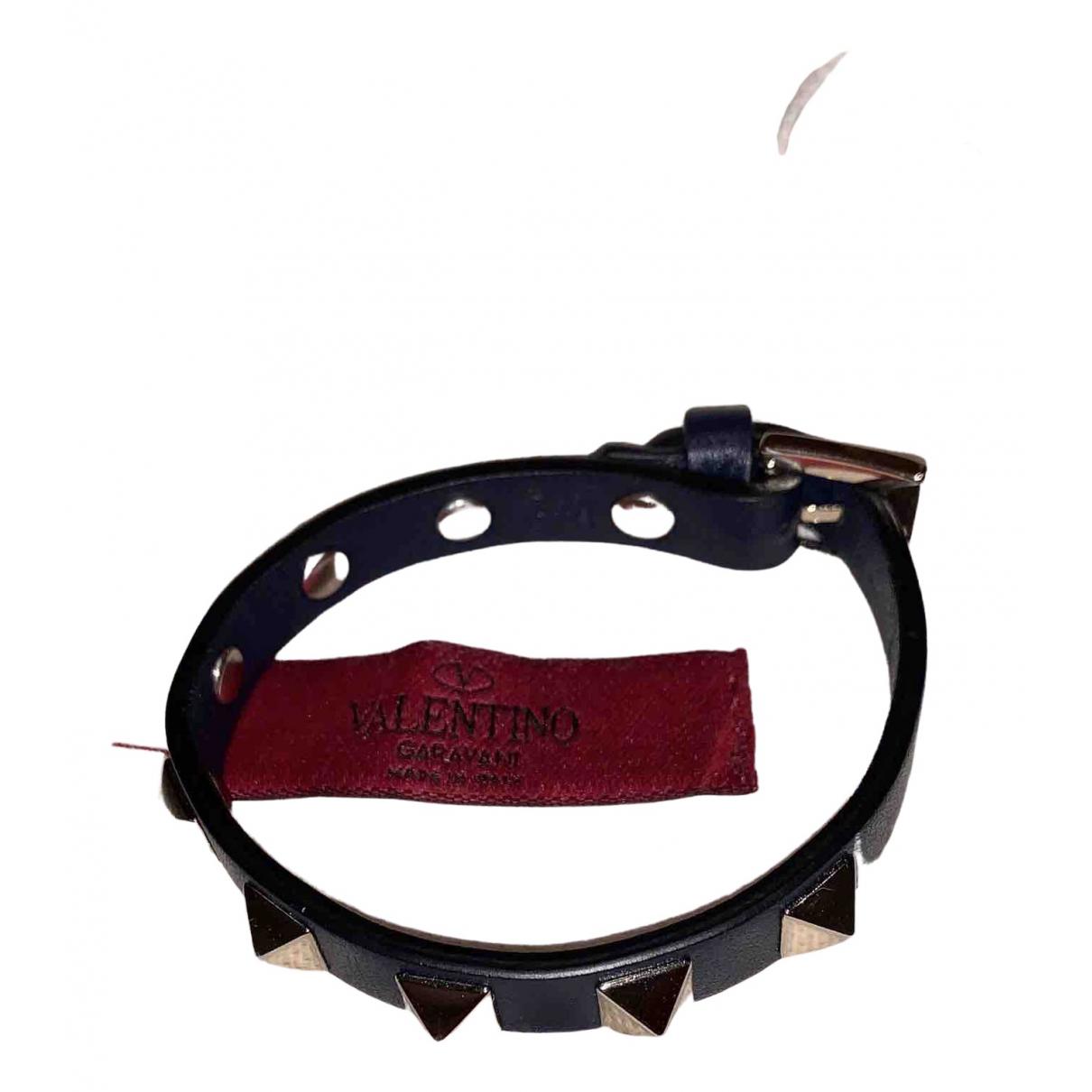 Valentino Garavani \N Armband in  Marine Leder