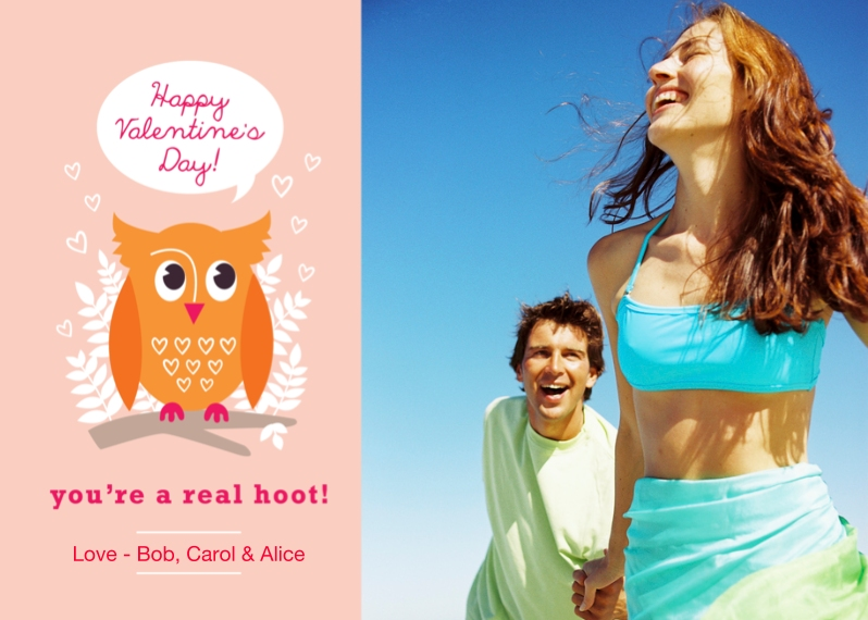 Just Because 5x7 Folded Cards, Standard Cardstock 85lb, Card & Stationery -Youre A Hoot Valentines Day