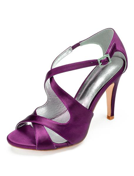 Milanoo Zapatos de novia de saten 10.5cm Zapatos de Fiesta Zapatos Color champaña de tacon de stiletto Zapatos de boda de punter Peep Toe con pedreria