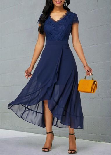 Rosewe Women Navy Blue Chiffon Summer Dress Solid Color Tulip Hem V Neck Short Sleeve Midi Elegant Flowy Dress - XXL
