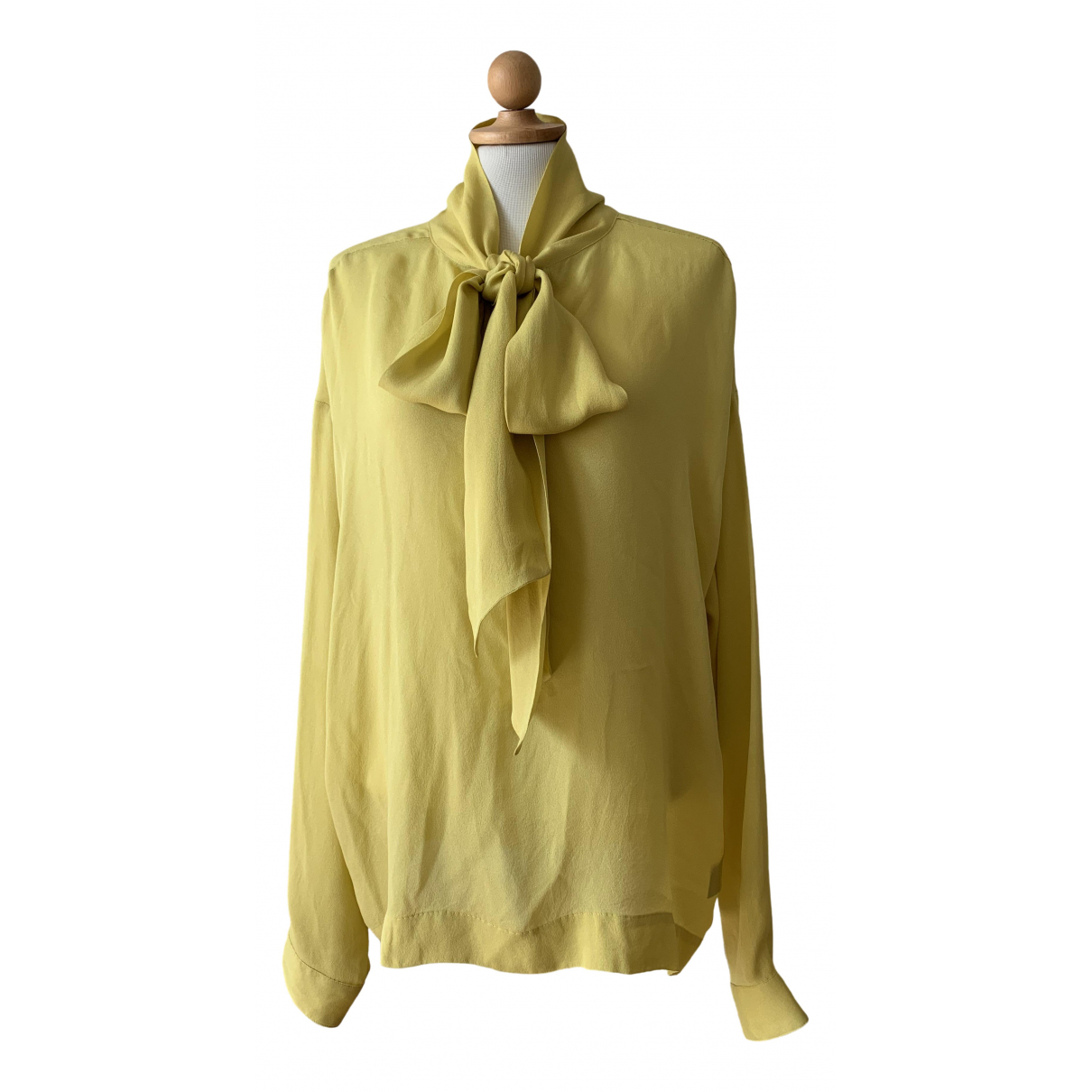 Non Signé / Unsigned \N Yellow Silk  top for Women L International