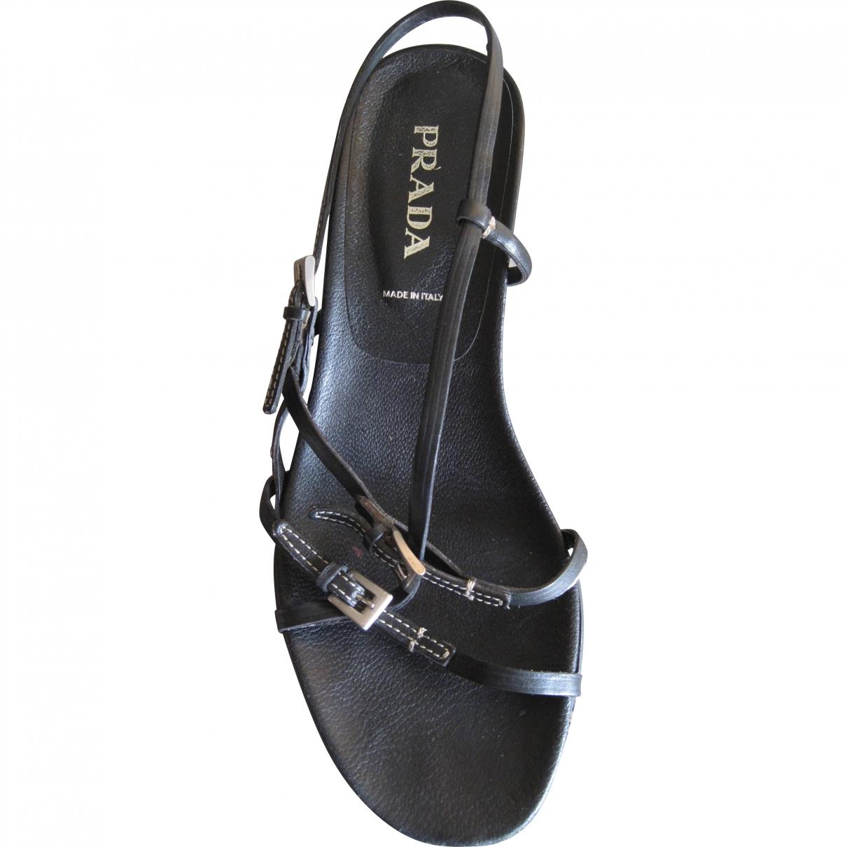 Prada \N Black Leather Sandals for Women 36 EU