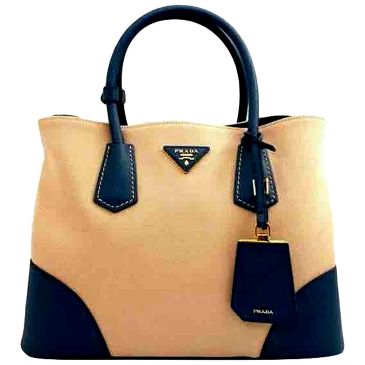 Prada Double Handtasche in  Beige Leder