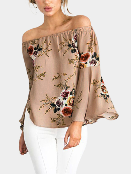 Yoins Beige Chiffon Floral Print Off The Shoulder Long Sleeves Blouses
