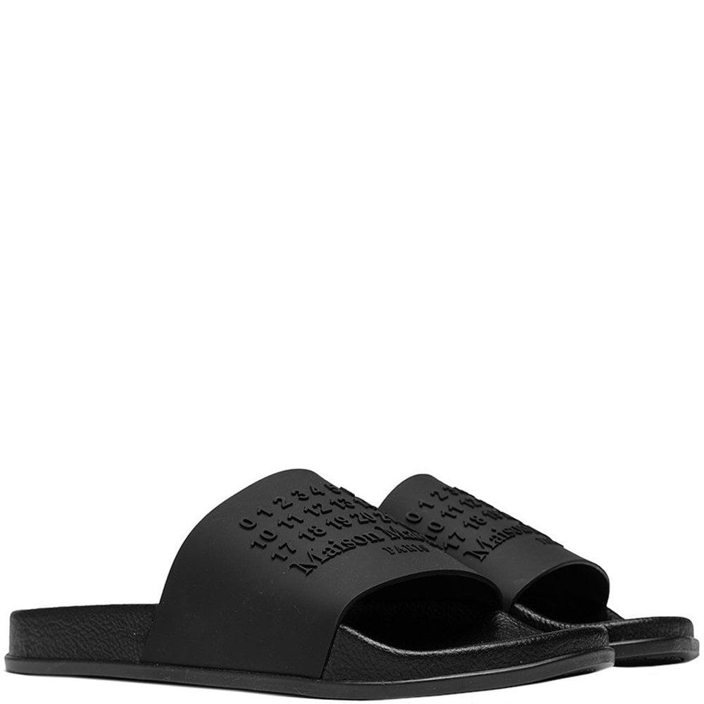 Maison Margiela Number Logo Shower Sliders Colour: BLACK, Size: 9