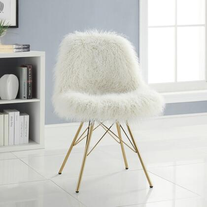 CH098FLK01U Remy Collection Chair with Brushed Gold Metal Legs Metal Frame and Fabric Upholstery in Cream