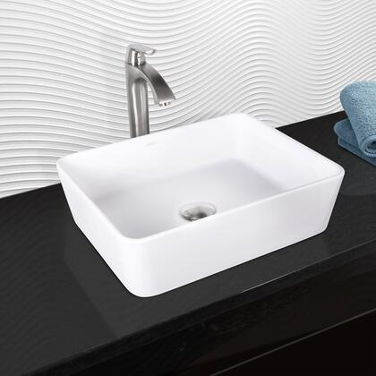 VGT1012 VIGO Sirena Composite Vessel Sink and Linus Bathroom Vessel Faucet in Brushed