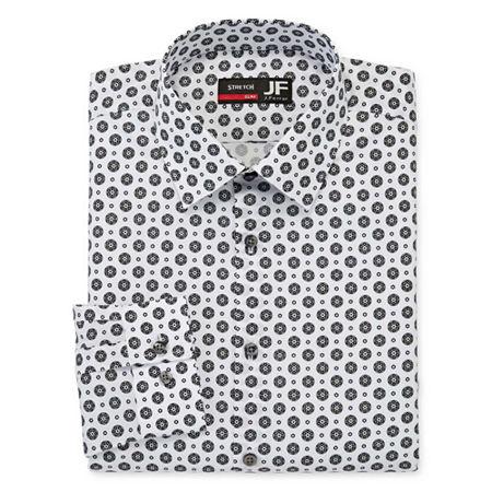 JF J.Ferrar Mens Point Collar Long Sleeve Stretch Dress Shirt, 20 34-35, Black