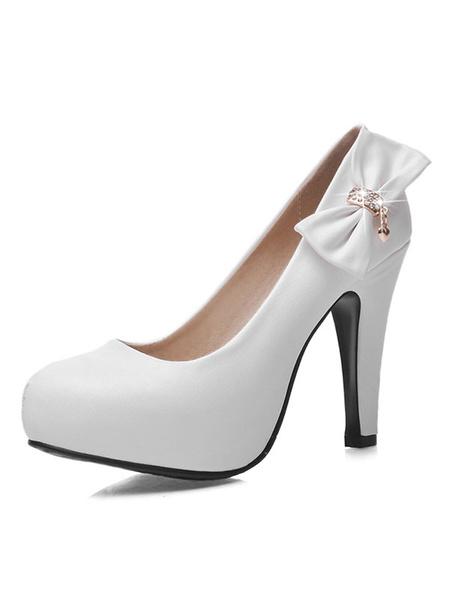 Milanoo Classic Lolita Pumps Bow Rhinestone Round Toe Chunky High Heel Lolita Shoes