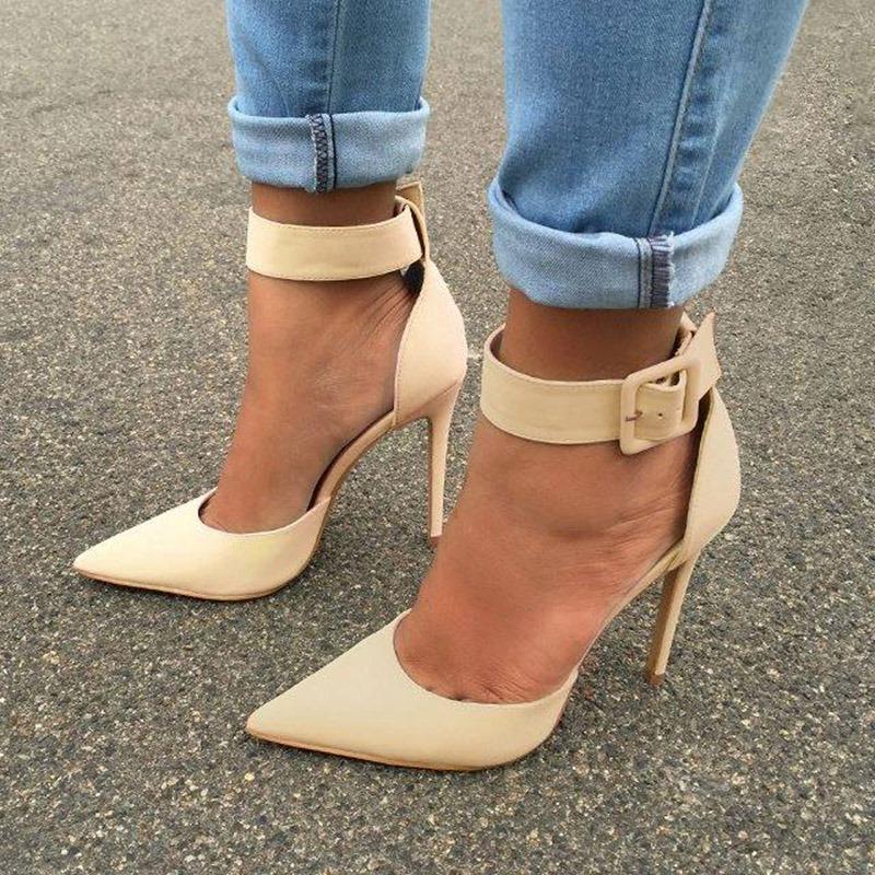 Ericdress PU Buckle Pointed Toe Stiletto Heel Women's Pumps
