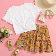 Girls Ruffle Cuff Twist Front Top & Floral Print Skirt Set