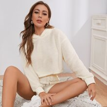 Teddy Hoodie With Drawstring Shorts Lounge Set