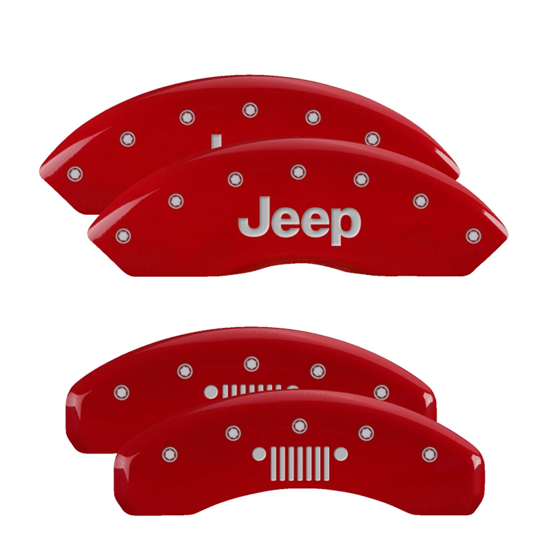 MGP Caliper Covers 42014SJPLRD Set of 4: Red finish, Silver JEEP / JEEP Grill Logo Jeep Wrangler 2003-2006