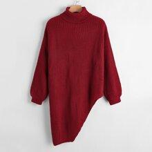Pullover mit Rollkragen und asymmetrischem Saum