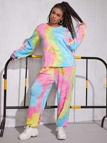 Plus Tie Dye Print Sweatshirt & Sweatpants