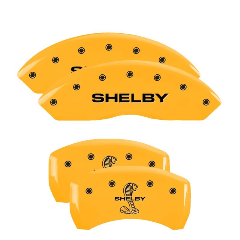 MGP Caliper Covers 10198SSBYYL Set of 4: Yellow finish, Black Shelby / Tiffany Snake Engraving