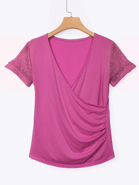 Yoins Rose Low Cut V-neck Wrap Front Lace Insert Blouse