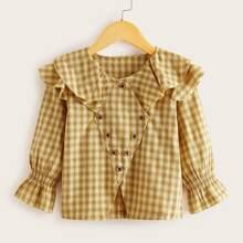 Toddler Girls Oblique Button Ruffle Tartan Blouse