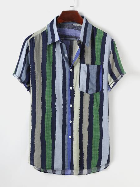 Yoins Men Summer Cotton Beach Holiday Color Block Striped Pocket Bohemian Shirt