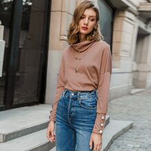 Funnel Neck Button Detail Rib-knit Tee