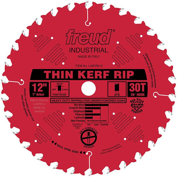 LU87R012 Industrial Thin Kerf Ripping Blade with Red Perma-Shield, 12