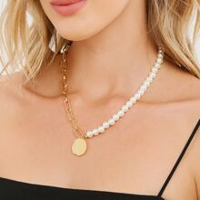 Hammered Disc Pendant Pearl And Chain Necklace