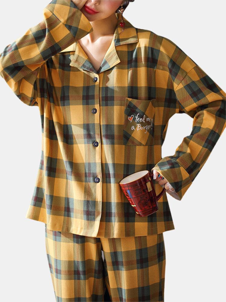 Women Plaid Print Cotton Lapel Loose Straight Pants Two-Piece Home Pajamas Set