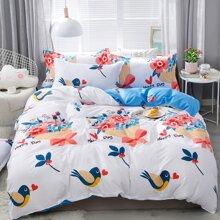Flower & Bird Print Bedding Set Without Filler