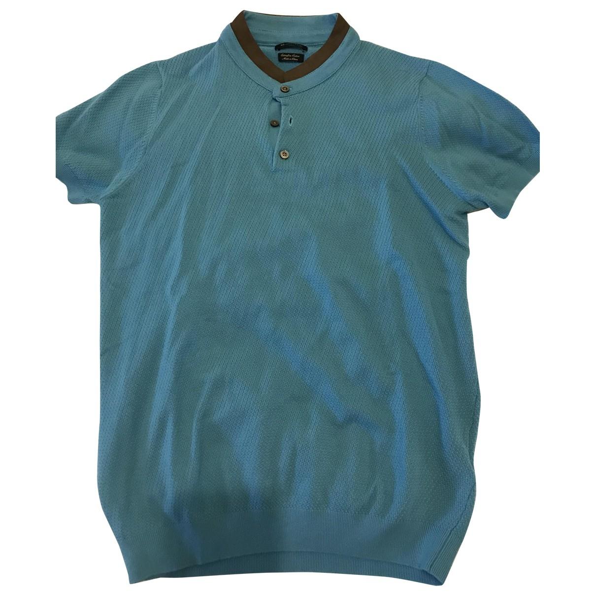 Massimo Dutti - Polos   pour homme en coton - turquoise
