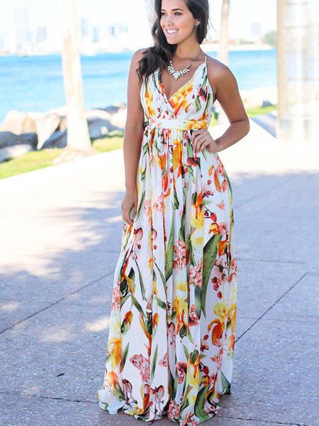 Milanoo Floral Maxi Dress V Neck Sleeveless Long Warp Beach Dress for Women