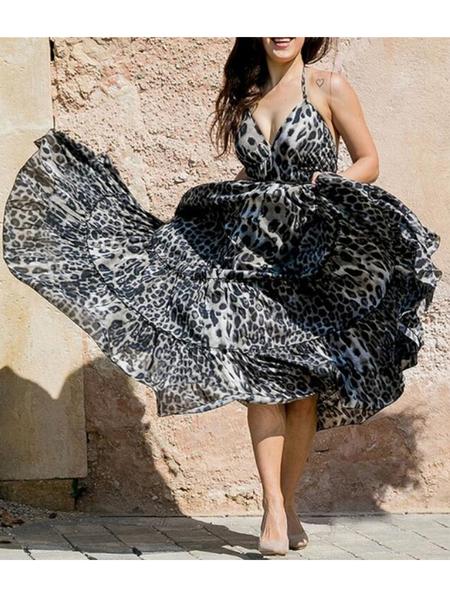 Yoins Adjustable Neck Strap Leopard Halter Sleeveless Dress